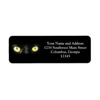 Gato negro, ojos verdes amarillos, liso y fantasma etiqueta de remite