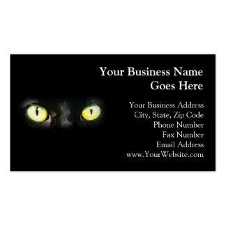 Gato negro, ojos verdes amarillos, liso y tarjeta de visita