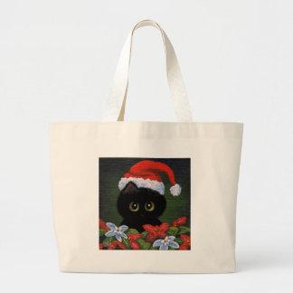Gato negro Papá Noel Creationarts divertido del Bolsa Tela Grande