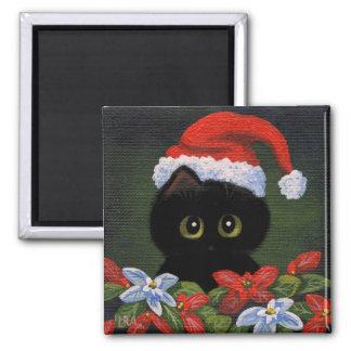 Gato negro Papá Noel Creationarts divertido del Imán Cuadrado