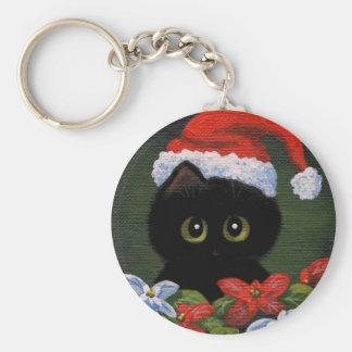Gato negro Papá Noel Creationarts divertido del Llavero Redondo Tipo Pin