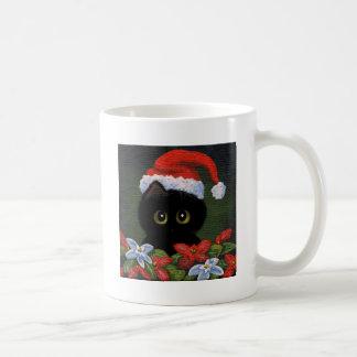 Gato negro Papá Noel Creationarts divertido del Taza De Café