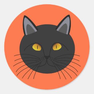 Gato negro para Halloween Pegatina Redonda