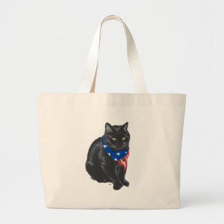Gato negro patriótico bolsa de tela grande
