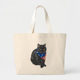 Gato negro patriótico bolsas lienzo
