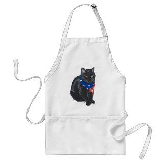 Gato negro patriótico delantales