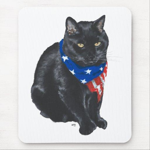 Gato negro patriótico mouse pad