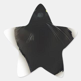 Gato negro calcomanías forma de estrella personalizadas