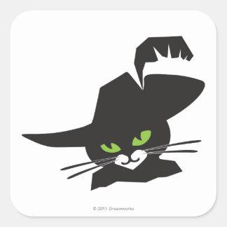 Gato negro calcomanía cuadradas personalizada