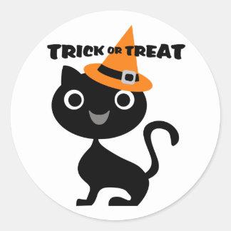 Gato negro etiqueta redonda