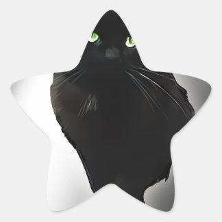 Gato negro calcomania forma de estrella personalizada