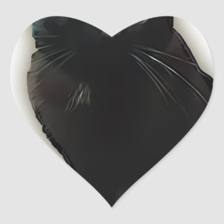 Gato negro pegatina en forma de corazón