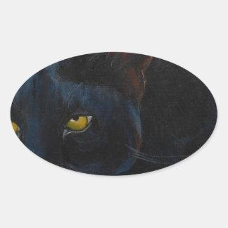 Gato negro pegatina ovalada