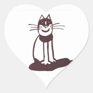 Gato negro pegatinas corazon