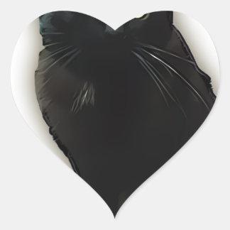 Gato negro pegatinas de corazon