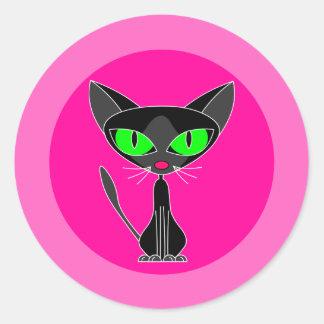 Gato negro, pegatinas rosados pegatina redonda