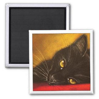 Gato negro perezoso - imán