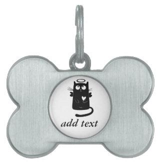 Gato negro personalizado del ángel lindo placa de mascota