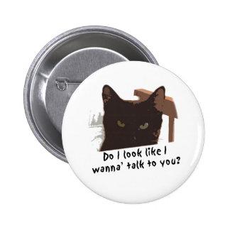 gato negro pin redondo de 2 pulgadas