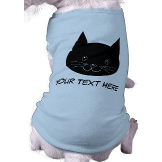 Gato negro playera sin mangas para perro