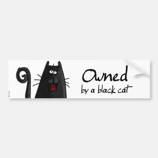 gato negro poseído etiqueta de parachoque