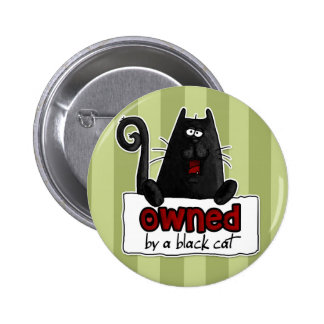 gato negro poseído pin redondo de 2 pulgadas