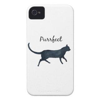 "Gato negro ""purrfect "" carcasa para iPhone 4"
