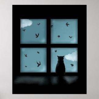 Gato negro que considera hacia fuera la ventana el posters