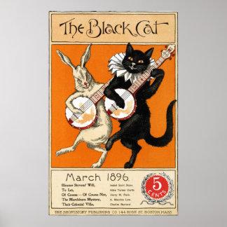 Gato negro que juega el poster 1896 del arte de