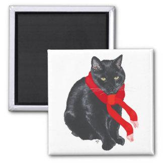 Gato negro que mantiene caliente en el navidad imán cuadrado