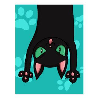 Gato negro que salta tarjetas postales