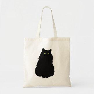 Gato negro que se sienta bolsa tela barata
