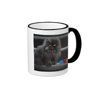 Gato negro que se sienta en las escaleras por los taza de dos colores