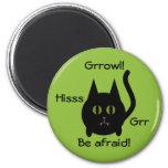 Gato negro redondo lindo del gatito para Halloween Imán De Frigorífico