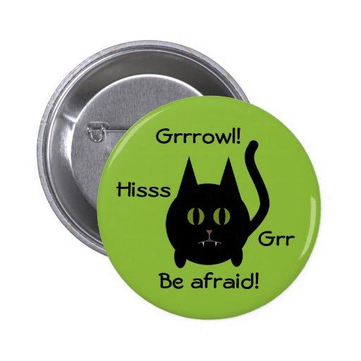 Gato negro redondo lindo del gatito para Halloween Pin
