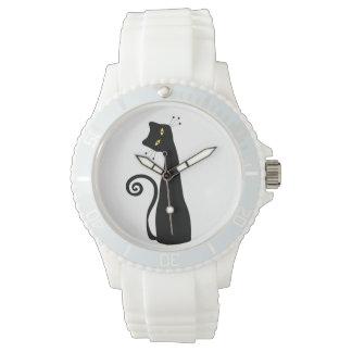 Gato negro reloj de mano