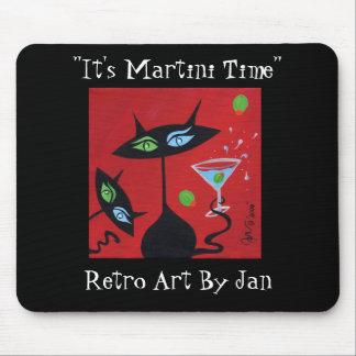 Gato negro retro Mousepad de Martini del arte pop Tapete De Ratones