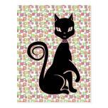 Gato negro retro tarjeta postal