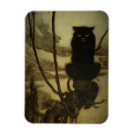 Gato negro Scowling Imán Foto Rectangular