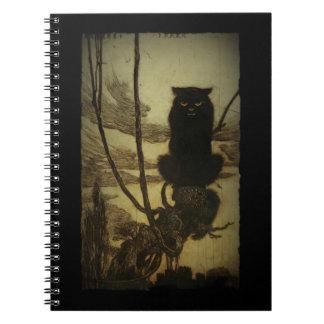 Gato negro Scowling Spiral Notebooks