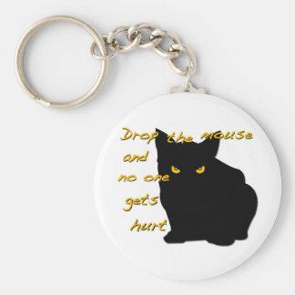 Gato negro Seez usted Llavero Redondo Tipo Pin