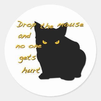Gato negro Seez usted Pegatina Redonda