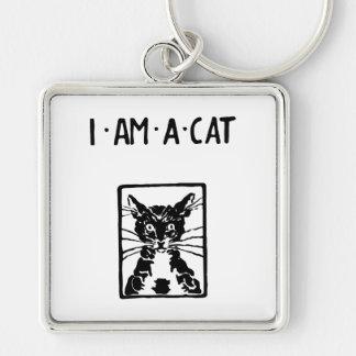 Gato negro soy un amante del gato del gato llavero cuadrado plateado