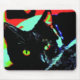 Gato negro tapete de ratones