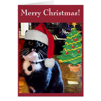 """Gato negro """"tarjeta del árbol de navidad de O"""" Tarjeta De Felicitación"""