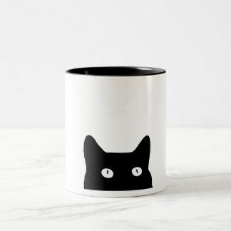 Gato negro taza de café de dos colores