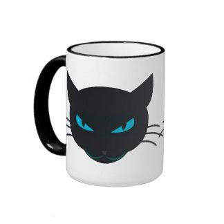 Gato negro taza de dos colores