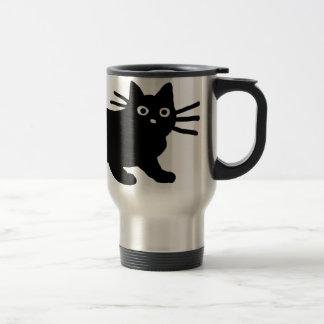 Gato negro taza de viaje