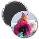 Gato negro torpe que oculta en juguetes rellenos imán para frigorifico