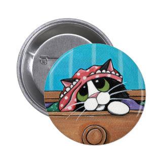 Gato negro travieso - botón del arte del gato pin redondo de 2 pulgadas